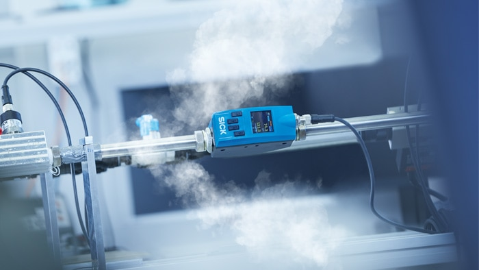 The FTMg flow sensor for real-time energy measurement is one of several sensor solutions for pneumatic systems in the SICK product range.