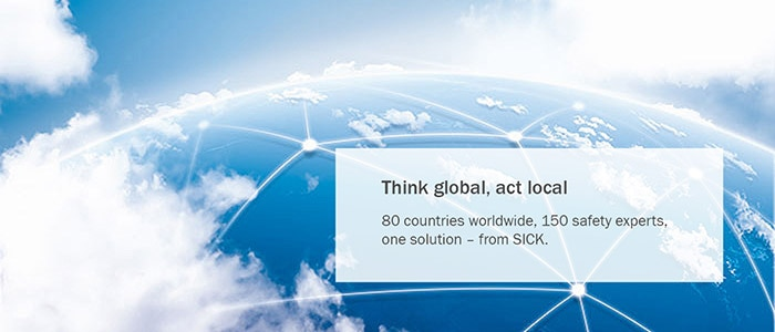 A globe of the world is covered with a mesh symbolizing the worldwide availability of SICK safety experts.