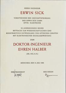 Erwin Sick erh?lt Doktor-Ingenieur